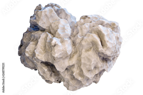 natural nugget alabaster isolated on white background Wallpaper Mural