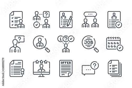 Obraz Interview related line icon set. Job offer and employment vector linear icon collection. - fototapety do salonu