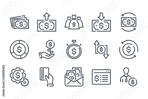 Fotomural Money and payment related line icon set