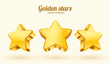 Three Golden Stars. Template For Mobile Game. Achievement Concept.