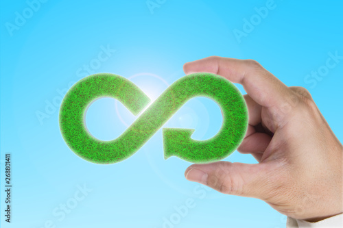 Green Eco Friendly And Circular Economy Concept Man S Hand