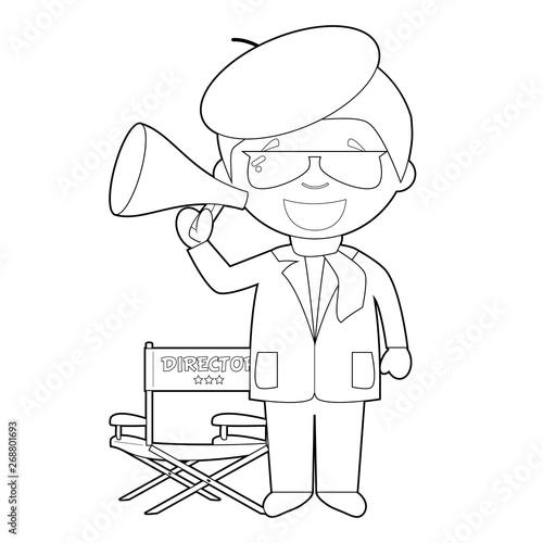 Obraz na plátne Easy coloring cartoon vector illustration of a filmmaker.