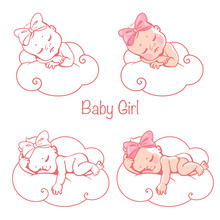 Newborn Baby Girls Sleeping On...