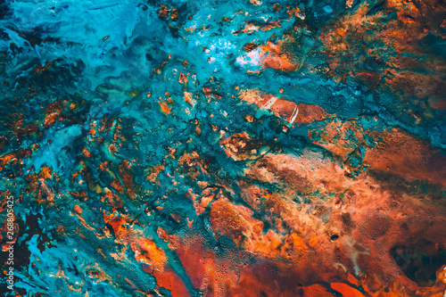 Photo  Abstract blue red paint background