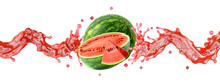 Fresh Ripe Watermelon With Watermelon Slice And Juice Or Smoothie Swirl Splashes. Tasty Juice Splash, Watermelon Blended Smoothie Isolated. Liquid Healthy Food, Drink Fruit Design. 3D