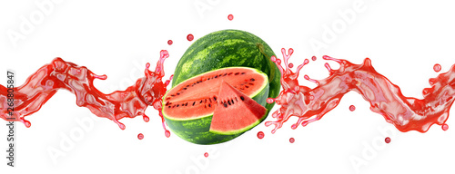 Fotografie, Tablou Fresh ripe watermelon with watermelon slice and juice or smoothie swirl splashes