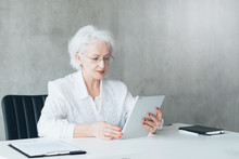 Confident Business Lady With Tablet. Digital Analysis. Company Performance. Competent Financial Management. Great Sales.
