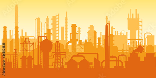 Industrial plant, factory silhouette, exterior of enterprise scene, oil refinery.