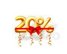 Sale 20 Off Ballon Number On The White Background.