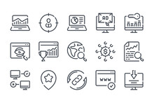 Search Engine Optimization Related Line Icons. Business And Marketing Vector Linear Icon Set.