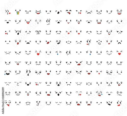 Photo  Set of cartoon kawaii faces, different emotions.