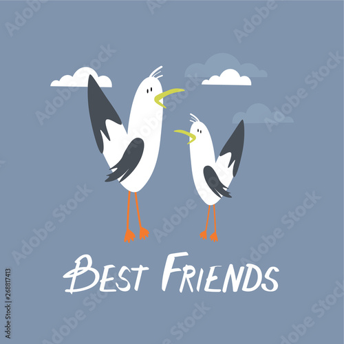 Birds, clouds and english text, hand drawn backdrop. Best friends. Colorful background vector. Cute illustration, seagulls. Decorative wallpaper, good for printing