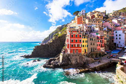 Acrylic Prints Mediterranean Europe Riomaggiore, a village in the Cinque Terre, italy