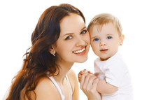 Portrait Close-up Happy Smiling Mother Holding Her Baby Isolated On White Background
