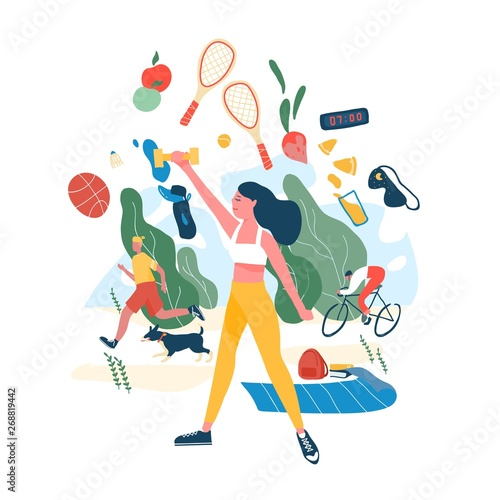People performing sports activities or exercise and wholesome food. Concept of healthy habits, active lifestyle, fitness training, dietary nutrition, outdoor workout. Modern flat vector illustration.