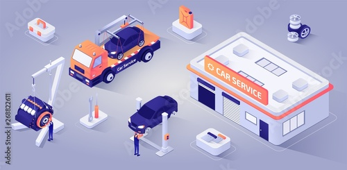 Photo  Car Service Building with Mechanics at Work Vector
