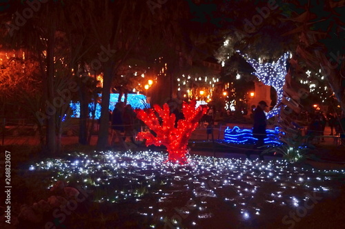 Canvas Print Christmas lights in Salerno, Italy