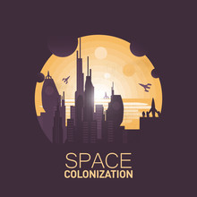 Space Colonization.Big Colony Base In The Desert.Negative Space Illustration