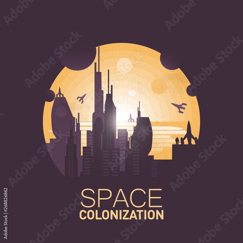 Space colonization Fotobehang