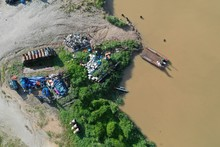 Plastic Garbage Dumped In A River In Malaysia