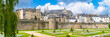 canvas print picture - Vannes, medieval city in Brittany, view of the ramparts garden with flowerbed