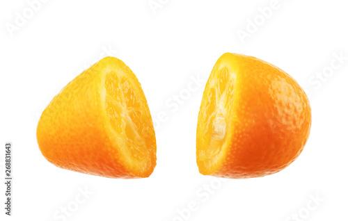 Valokuva  Kumquat in half on a white background