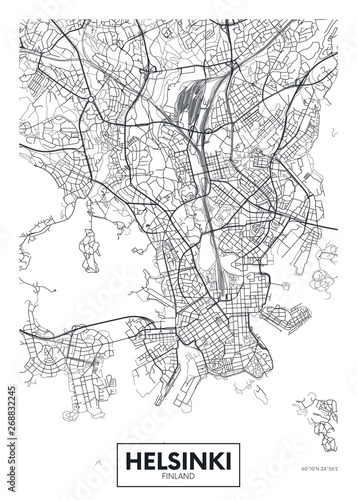 Fotografía City map Helsinki, travel vector poster design