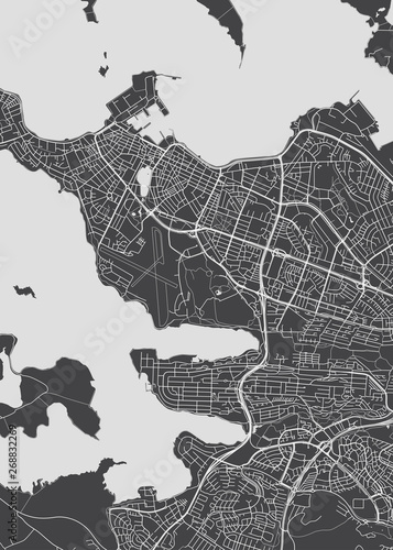 City map Reykjavik, monochrome detailed plan, vector illustration Canvas Print