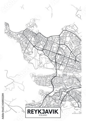 Foto City map Reykjavik, travel vector poster design