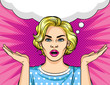 Color vector illustration in pop art style with a speech bubble over halftone dot pink background. Beautiful young woman shrugs. The girl can not choose. Blonde puzzled shrugs.