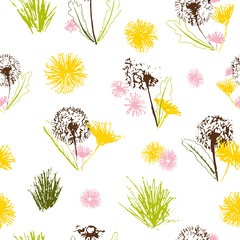 Fototapeta Dmuchawce Vector floral dandelions blowballs and daisy bouquets seamless pattern background.