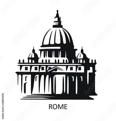 Fototapeta Rome icon. Saint Peters Basilica at Vatican obraz