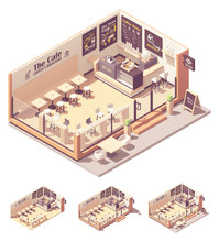 Vector Isometric Coffee Shop Or Coffeehouse