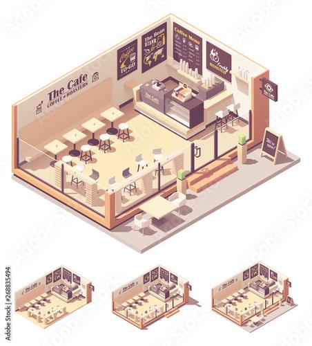 Vector isometric coffee shop or coffeehouse