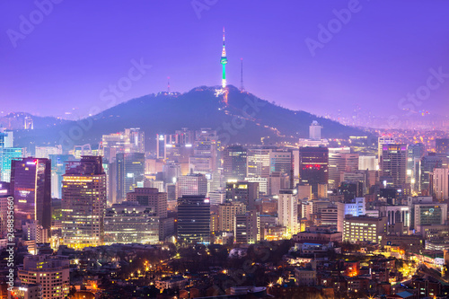 Beautiful city of lights at night, Seoul tower and Skyscrapers of Seoul, South Korea.