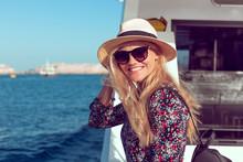 Happy Traveler Woman Toothy Smile On Cruise Ship On Mediterranean Sea
