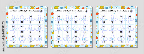 Addition and Multiplication Math Puzzle Set Wallpaper Mural