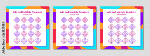 Addition and Multiplication Math Puzzle Set Canvas Print