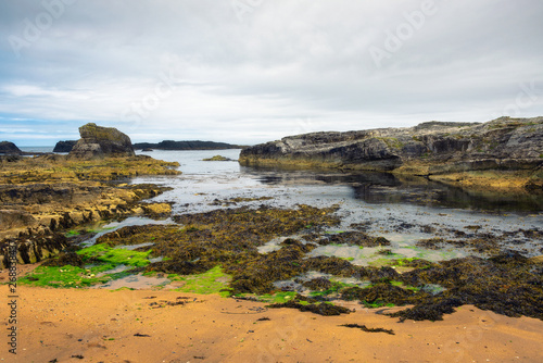 Dramatic landscape of the Ballintoy Harbor shoreline in Northern Ireland Wallpaper Mural