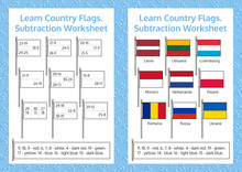 Learn Country Flags. Subtraction Worksheet. Educational Game. Mathematical Puzzle. Vector Illustration.