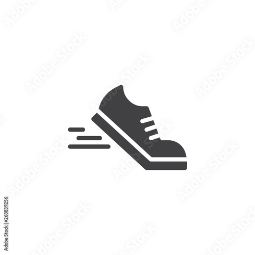 Running shoes vector icon. filled flat sign for mobile concept and web design. Sport shoe glyph icon. Symbol, logo illustration. Pixel perfect vector graphics