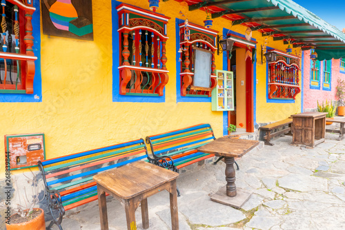 Deurstickers Illustratie Parijs Colorful traditional typical Colombian house