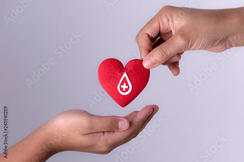 Cuadros en Lienzo Woman hand gives a red heart to a boy hand for blood donation concept,World blood donor day