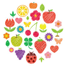 Pretty Colorful Shape Illustration Set  (handwriting Style / Colored Pencil Stroke) . Flowers,fruits,insects,leaves Etc. Arrange In A Circle.