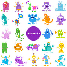 Cartoon Monster And Alien Char...