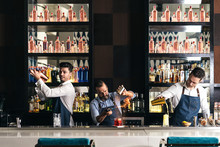 Professional Team Of Young Bartenders Working