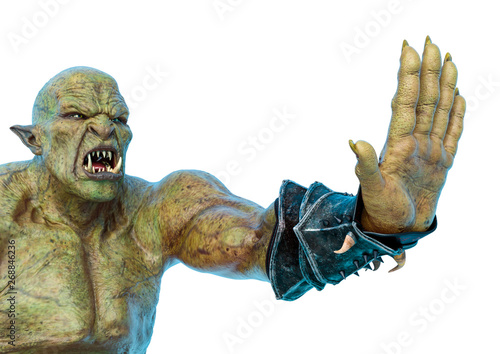 green orc saying hi five in a white background