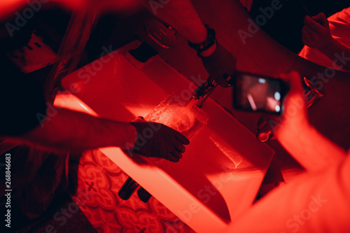 Pinturas sobre lienzo  Photo development. Darkroom, Ambrotype. Red light.