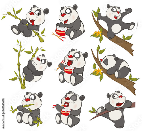 Vector Illustration of a set of Funny Panda Bear. Cartoon Character