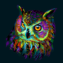Long-eared Owl. Abstract, Mult...